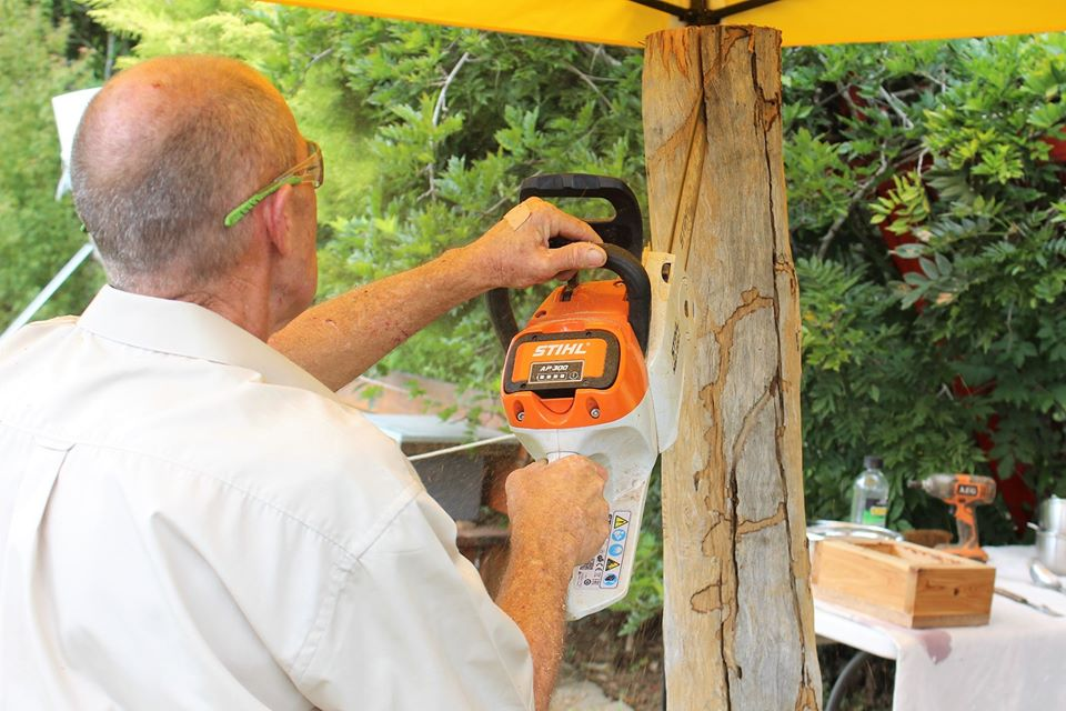 rescued native bee hive being split with chainsaw